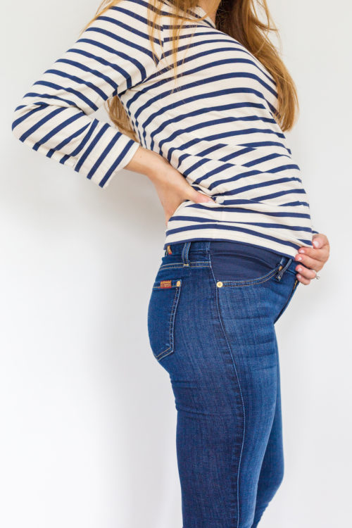 maternity jeans review 7 For All Mankind ankle skinny maternity jeans in B(Air) Duchess 3