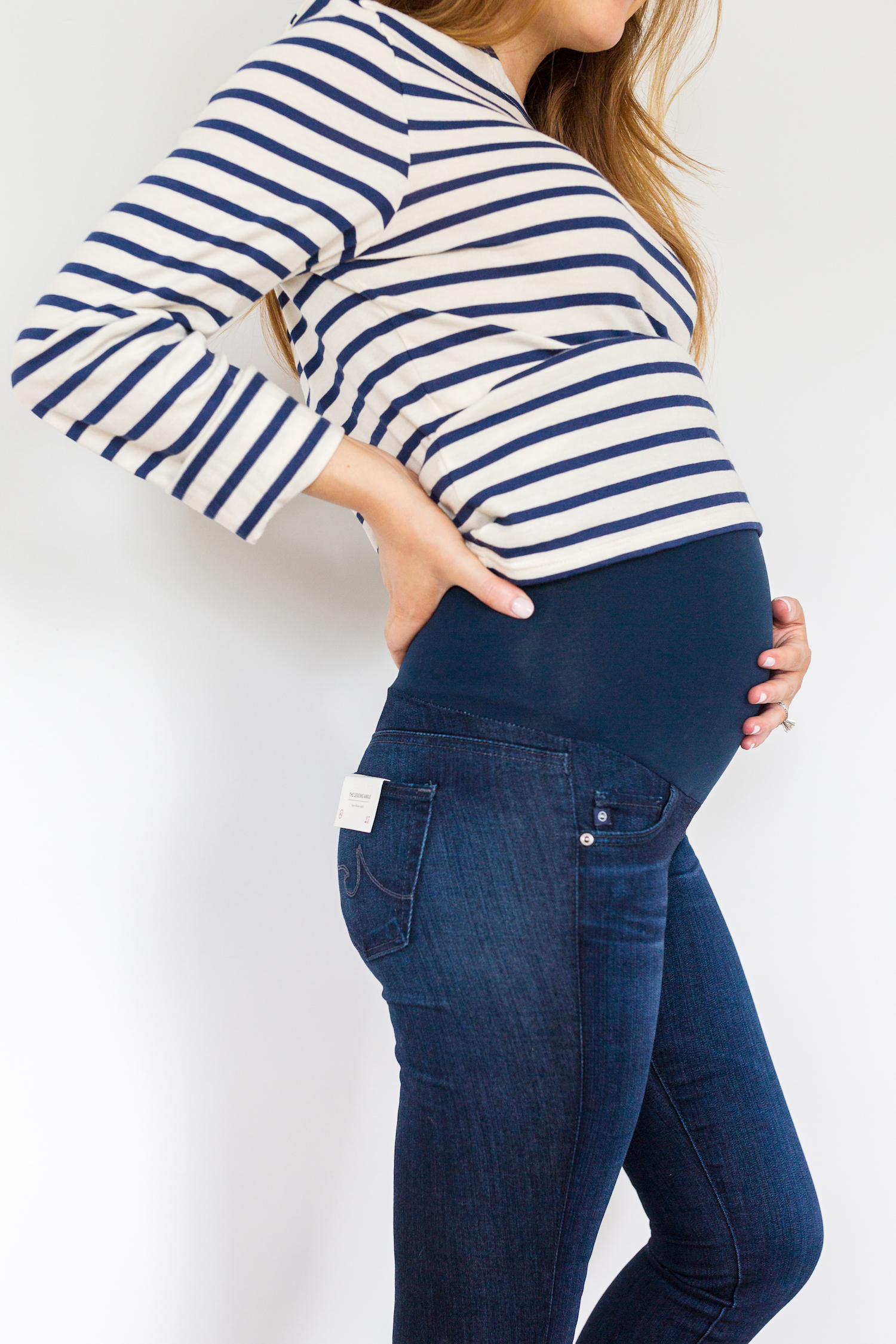 2a208f19056fb maternity jeans review AG Jeans secret fit belly legging ankle maternity  jeans in evening star 3