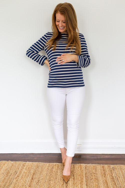 maternity jeans review DL1961 Florence crop maternity jean in porcelain 2