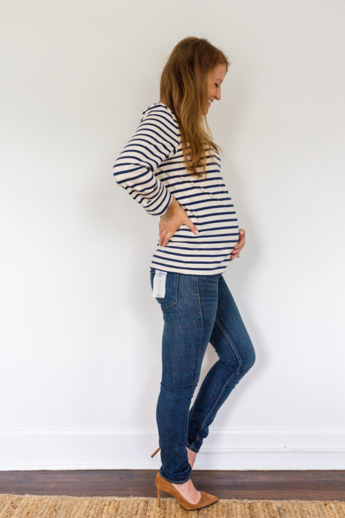 maternity jeans review H&M Mama skinny jeans in dark denim blue 2
