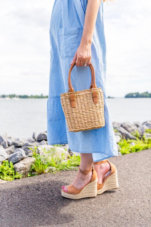 topshop sandy starw mini grab bag and steve madden susana espadrille wedge sandal