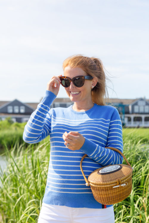 design darling nantucket lightship basket and kule sophie sweater