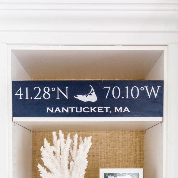 nantucket coordinates sign on design darling