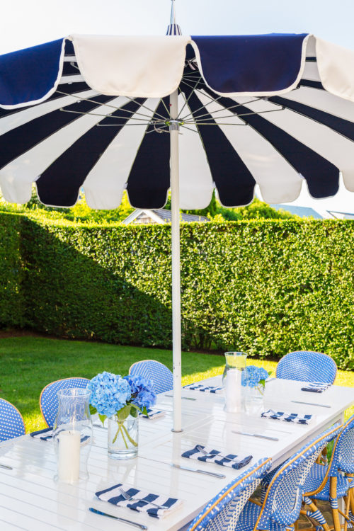 serena & lily eastport striped umbrella and frontgate paris bistro side chairs in capri blue