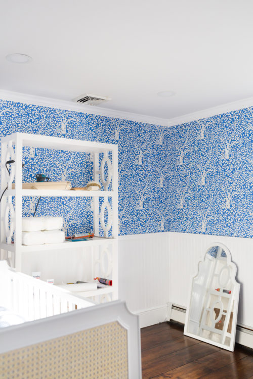 design darling nursery progress quadrille arbre de matisse wallpaper in china blue