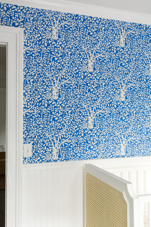 quadrille arbre de matisse wallpaper in china blue and serena and lily harbour cane crib on design darling