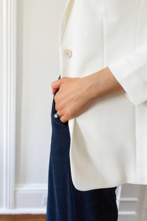 banana republic long and lean-fit tuxedo blazer white