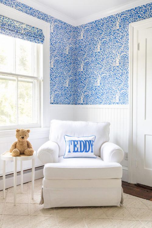 design darling nursery quadrille arbre de matisse reverse wallpaper china blue birch lane lily swivel chair spinnsol optic white