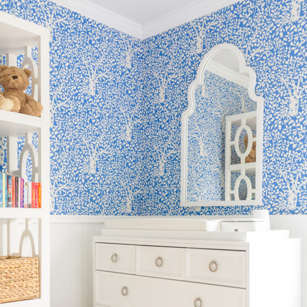 design darling nursery quadrille arbre de matisse reverse wallpaper china blue one kings lane myrna wall mirror ducduc savannah 5 drawer changer