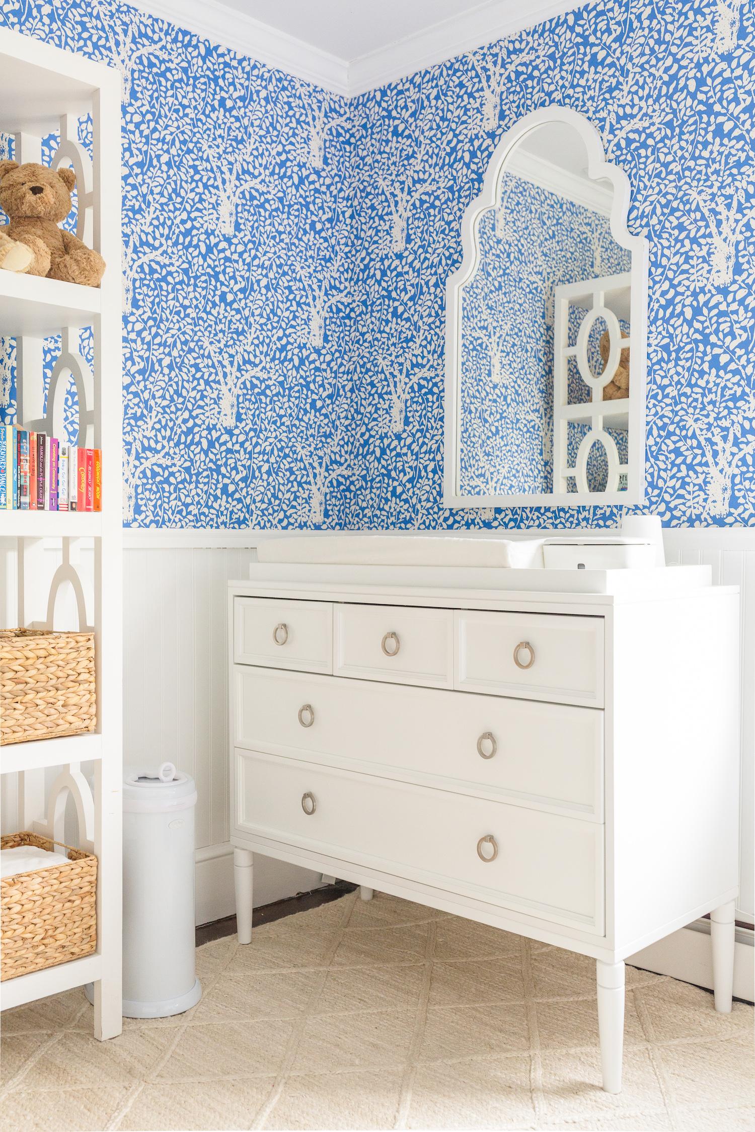 design darling nursery quadrille arbre de matisse reverse wallpaper china blue one kings lane myrna wall mirror ducduc savannah 5 drawer changer
