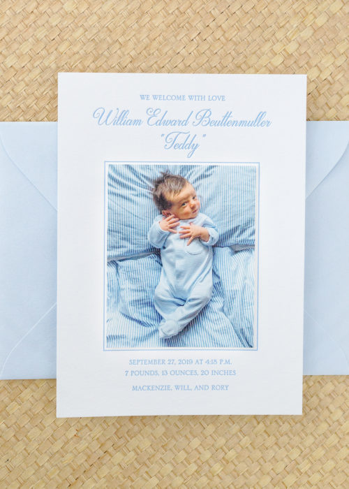 design darling teddy's birth announcements