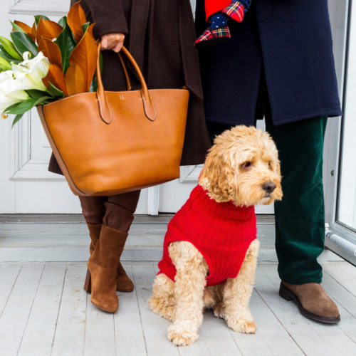 ralph lauren leather medium bellport tote and cashmere dog sweater
