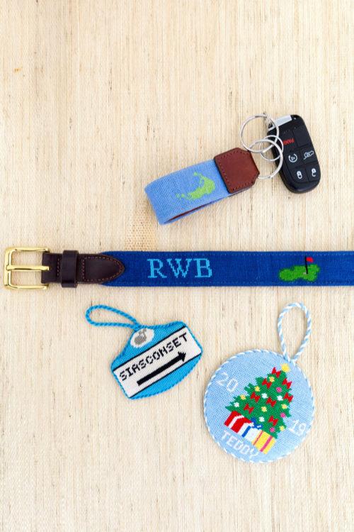custom needlepoint belt design darling