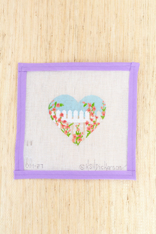 heart shaped rose covered fence needlepoint ornament canvas