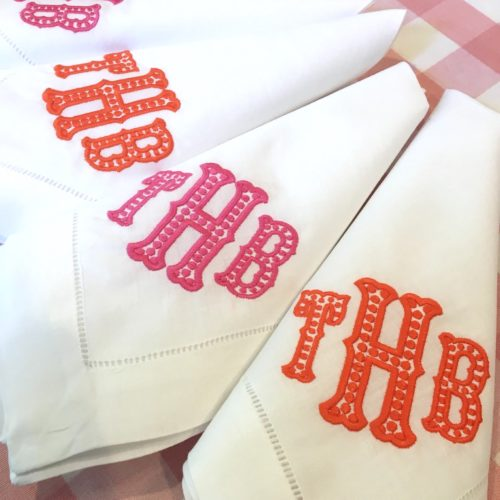hot pink and orange monogrammed dinner napkins