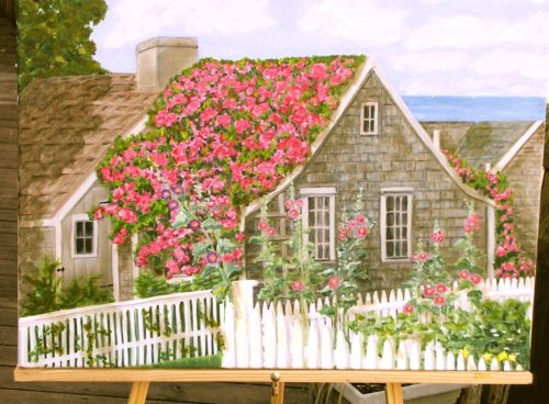 Nantucket rose covered cottage art print