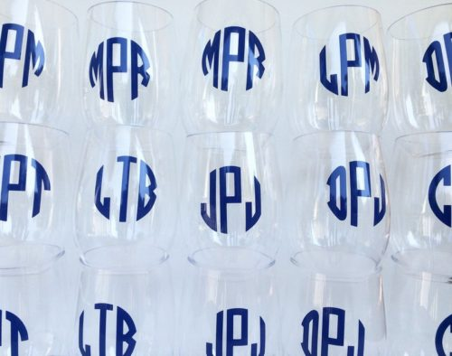 monogrammed acrylic wine glasses