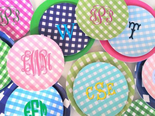 monogrammed gingham melamine plates