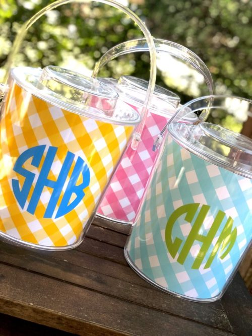 monogrammed gingham ice bucket
