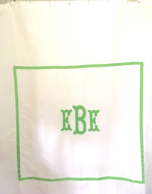 applique monogrammed shower curtain etsy