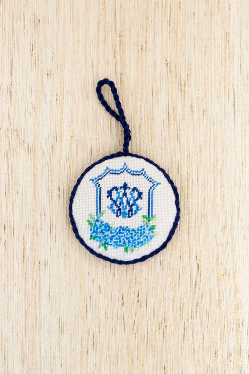 needlepoint wedding crest ornament design darling