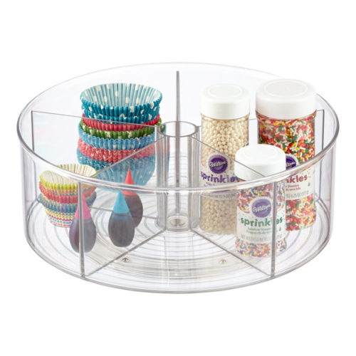 clear linus divided lazy susan for pantry organization