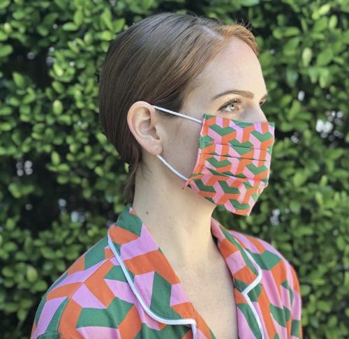 katie kime goyard print face mask