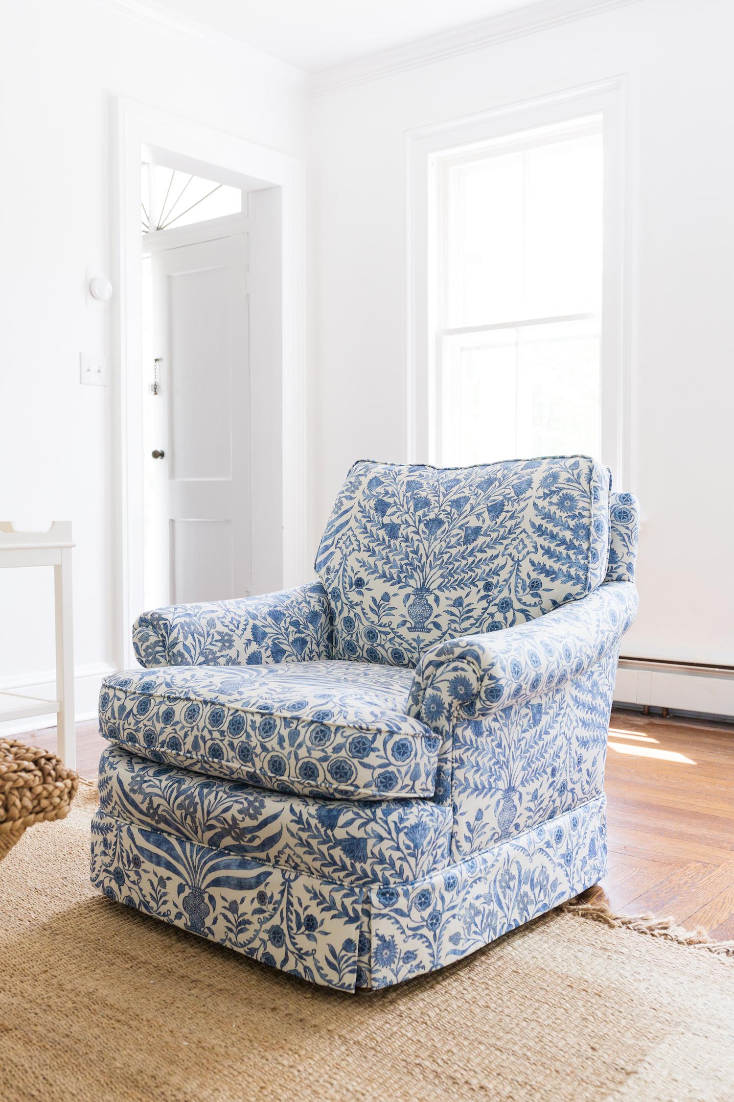 lee jofa sameera fabric in blue:indigo on armchair