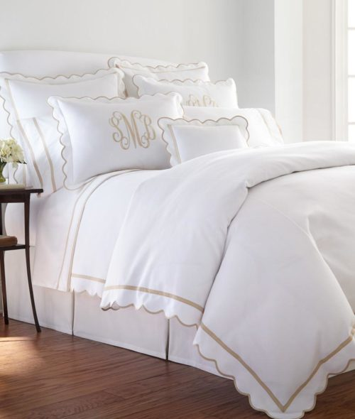 madre scalloped monogrammed bedding
