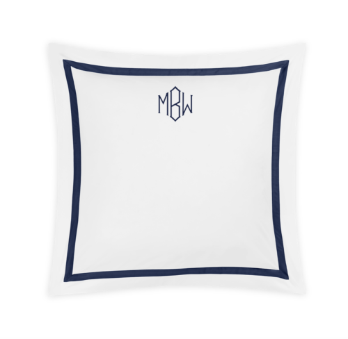 matouk lowell monogrammed euro sham in navy blue