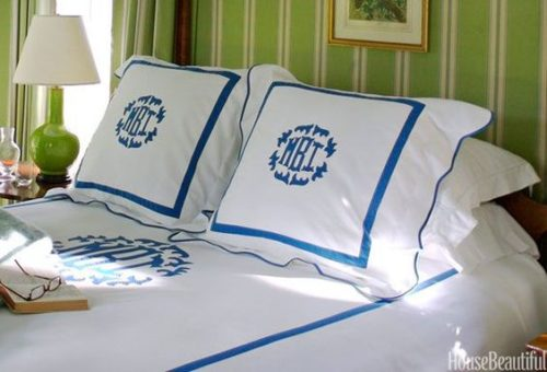 monogrammed bedding house beautiful
