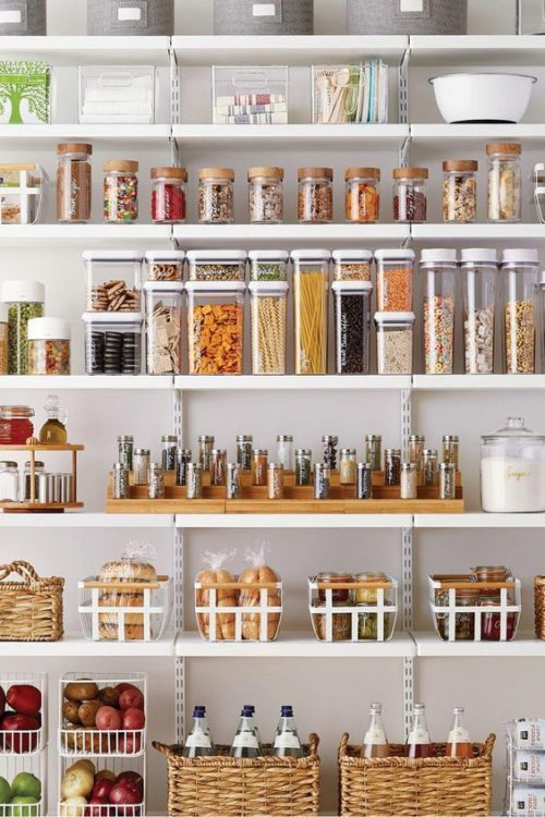 pantry organization with clear containers
