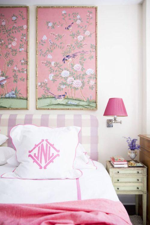 pink monogrammed bedding