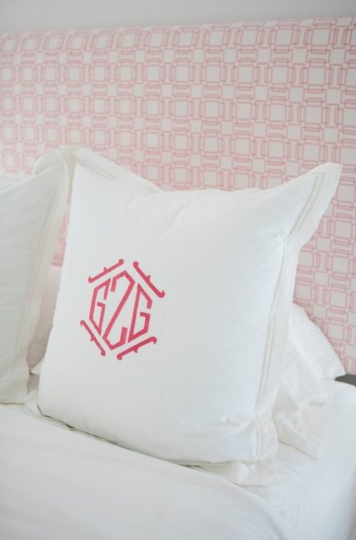 pink monogrammed pillowcase