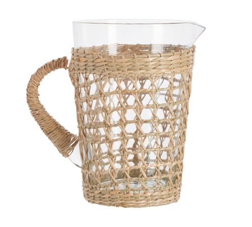 pottery barn cane pitcher