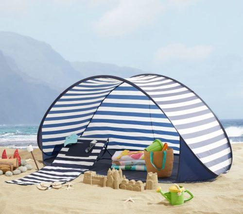 pottery barn kids x mark & graham sunshade striped beach tent