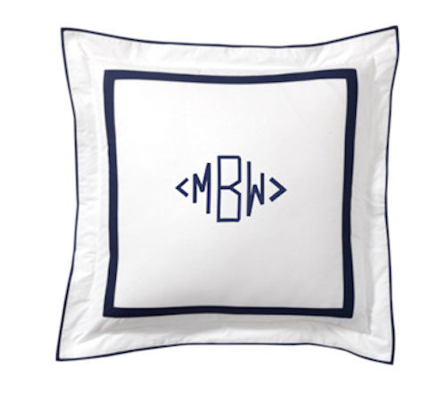pottery barn morgan bedding monogrammed euro sham