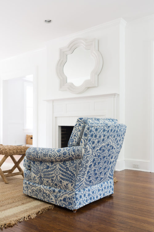 quatrefoil mirror and armchair in lee jofa sameera blue indigo fabric