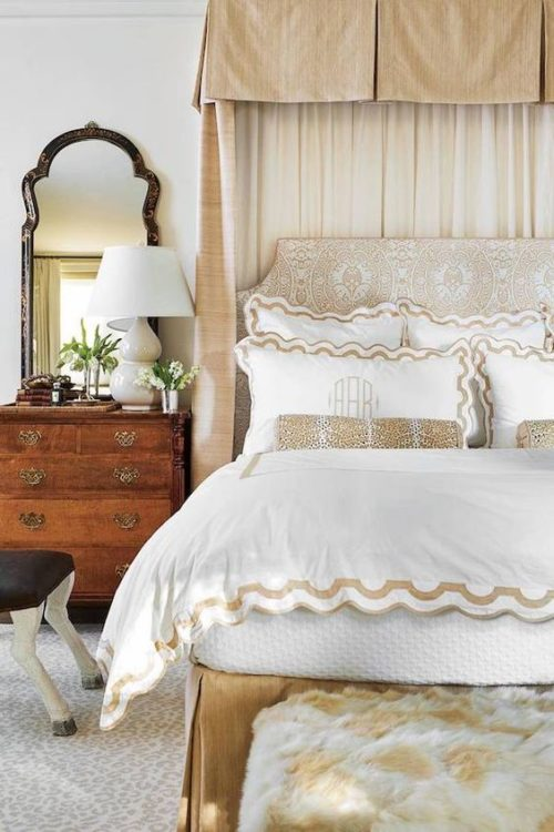 scalloped monogrammed bedding