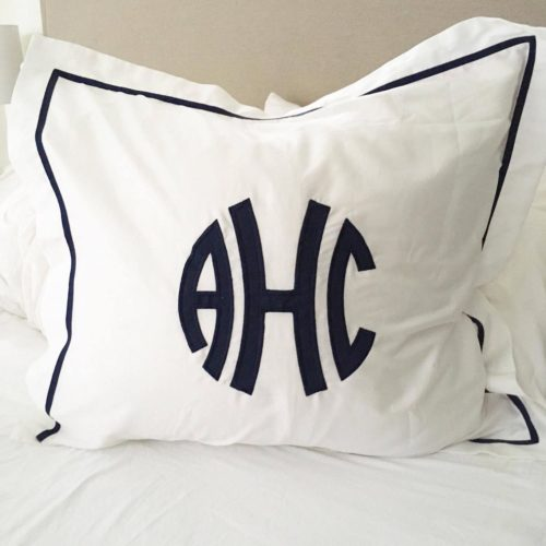 southern linen applique monogram pillowcase