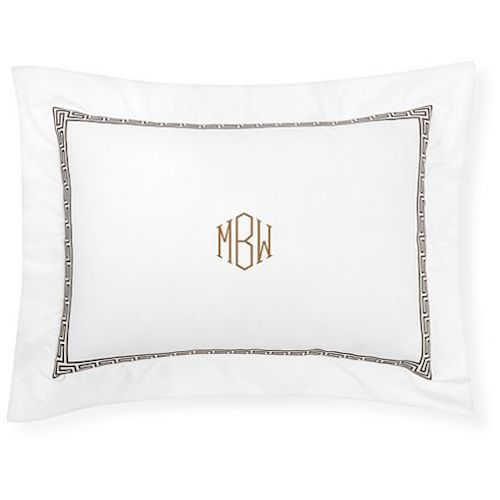 williams sonoma home greek key monogrammed pillow case