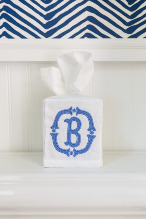 applique monogram tissue box cover