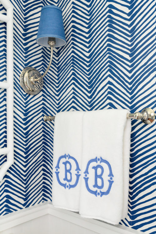 applique monogrammed hand towels in powder room
