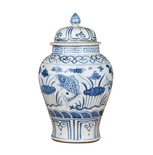 blue and white fish ginger jar