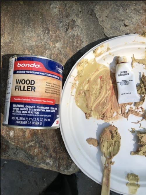 bondo wood filler and cream hardener