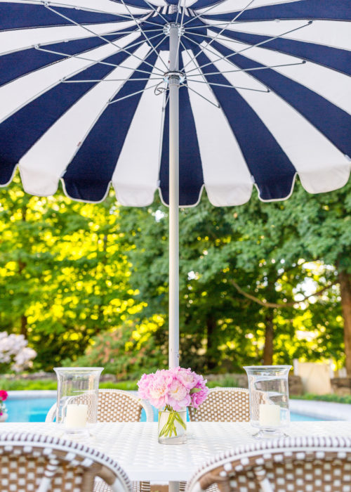serena & lily eastport striped umbrella in navy white