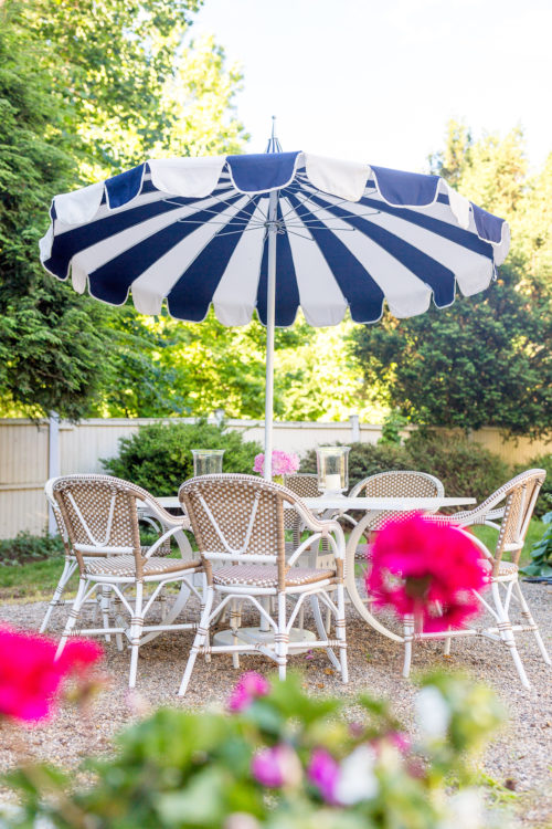 serena & lily eastport striped umbrella serena & lily outdoor riviera dining chair in dune