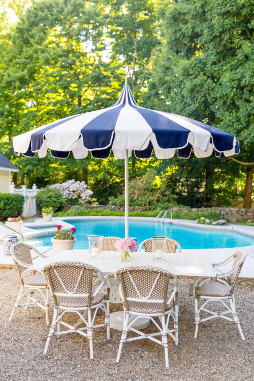 serena & lily eastport striped umbrella wayfair darby home co flagg cast aluminum dining table and serena & lily outdoor riviera dining chair in dune