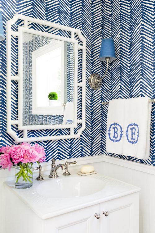 serena & lily ojai mirror applique monogram hand towels quadrille zig zag wallpaper navy