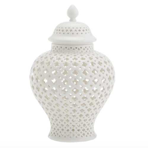 white pierced ginger jar